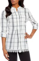Allison Daley Long Roll-Tab Sleeve Plaid Pintucked Button Front Shirt