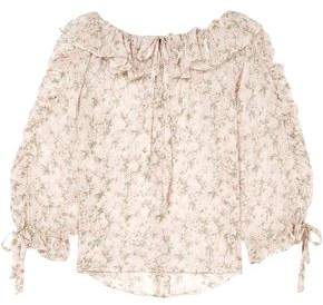 Paul & Joe Ruffled Floral-print Silk-georgette Blouse