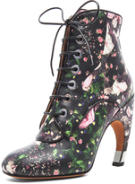 Givenchy Nappa Leather Curved Heel Booties in Floral Multi