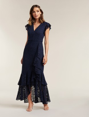 Forever New Audrey Lace Ruffle Maxi Dress - Navy - 10