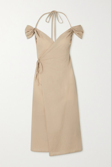 Thumbnail for your product : IOANNES Romeo Cold-shoulder Cotton Halterneck Wrap Dress - Brown