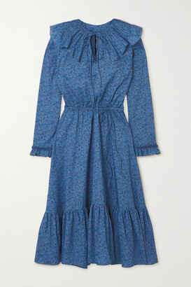 Horror Vacui Victoria Ruffled Floral-print Cotton Dress - Blue