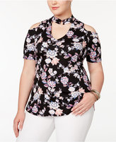 Almost Famous Trendy Plus Size Printed Cold-Shoulder Top