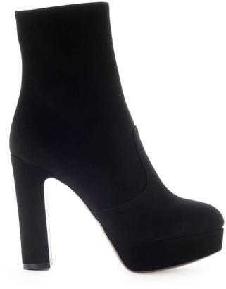 L'Autre Chose Black Suede Heeled Ankle Boot