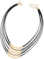 Thalia Sodi Gold-Tone Crystal Jet Faux-Leather Multi-Row Necklace, Only at Macy's