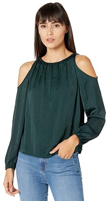 1 STATE Long Sleeve Cold-Shoulder Blouse (Night Meadow) Women's Clothing