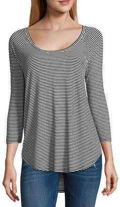 A.N.A Womens Scoop Neck 3/4 Sleeve T-Shirt