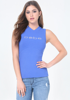 Bebe Logo Back Lace Up Top