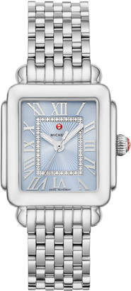 Michele Deco Madison Stainless Diamond Dial Watch, Blue/Silver
