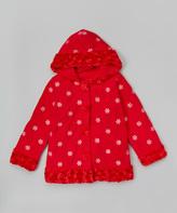 Paperdoll Red Snowflake Fleece Hooded Coat - Toddler & Girls