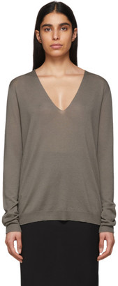 Rick Owens Grey Soft V-Neck Sweater