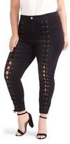 Plus Size Women's Addition Elle Love And Legend Lace-Up Denim Leggings