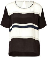 Jonathan Simkhai Silk Charmeuse Stripe Top in Black/Ivory/Navy