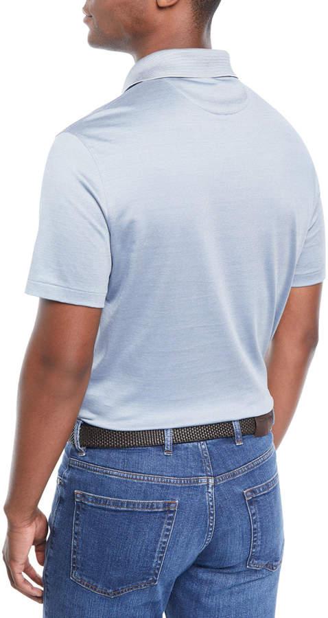 Ermenegildo Zegna Men's Needle Stripe Cotton/Silk Polo Shirt