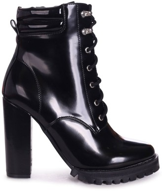 Linzi LAINA - Black Shiny Block Heeled Military Boot With Cleated Sole