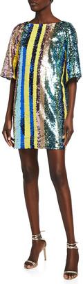 ONE33 SOCIAL Sequin Multi-Stripe Elbow-Sleeve Mini Dress