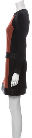Thumbnail for your product : Victoria Victoria Beckham Colorblock Pattern Mini Dress w/ Tags Brown