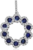 Etsy Sapphire & Diamond Swirl Pendant 14k White Gold - Sapphire Pendants for Women - Sapphire Necklace -