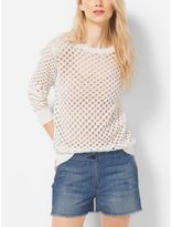 Michael Kors Crochet Cotton Crewneck Sweater