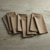 Crate & Barrel Fete Brindle Brown Cloth Napkins Set of Eight