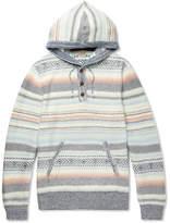 Faherty Baja Striped Cotton-blend Jacquard Hoodie - Gray