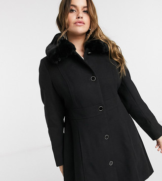 Forever New Curve long coat with faux fur collar in black