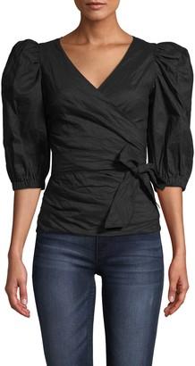 Nicole Miller Cotton Metal Wrap Blouse W/ Puff Sleeve