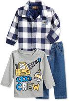 Nannette Baby Boys' 3-Pc. Construction Crew T-Shirt, Plaid Jacket & Jeans Set
