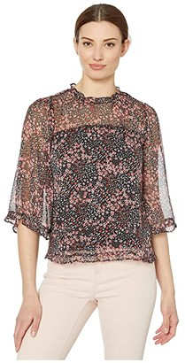 CeCe 3/4 Sleeve Ruffled Ditsy Blossom Blouse (Rich Black) Women's Clothing