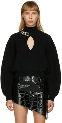 Alexander Wang Black Chain-Link Keyhole Sweater