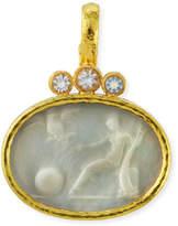 Elizabeth Locke 19k Mystical Ball Venetian Glass Pendant w/ Moonstone