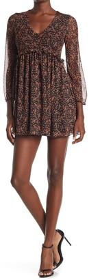 Velvet Torch V-Neck Long Sleeve Mini Dress