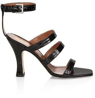 Paris Texas Ankle-Cuff Patent Croc-Embossed Leather Sandals