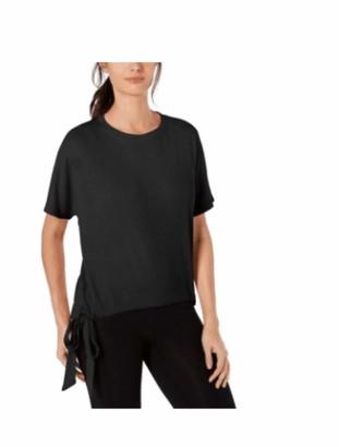 Ideology Womens Black Tie Pinstripe Short Sleeve Crew Neck T-Shirt Top Size: M