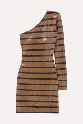 Balmain One-shoulder Crystal-embellished Georgette Mini Dress - Gold