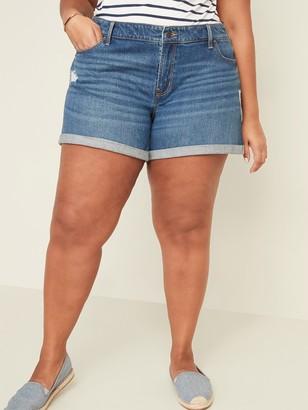 Old Navy Mid-Rise Distressed Boyfriend Plus-Size Jean Shorts -- 5-inch inseam