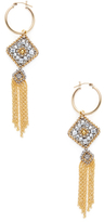 Miguel Ases Beaded Geometric Tassel Statement Earrings