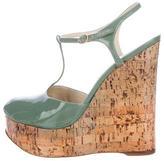 Saint Laurent Patent Wedge Sandals
