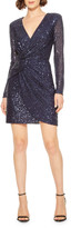 Parker Black Philippa Sequin V-Neck Long-Sleeve Mini Dress w/ Shoulder Pads
