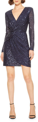Philippa Sequin V-Neck Long-Sleeve Mini Dress w/ Shoulder Pads