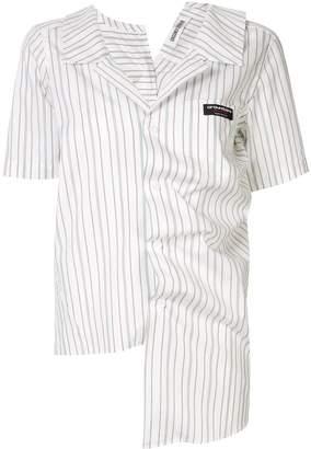Ground Zero irregular draped striped shirt