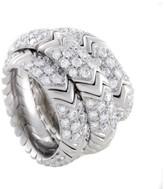 Bulgari 18K White Gold Diamond Pave Band Ring Size 5.5