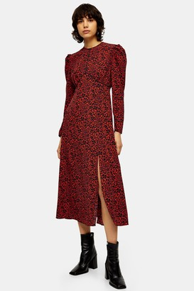 Topshop Womens Red Animal Print Piped Midi Dress - Red