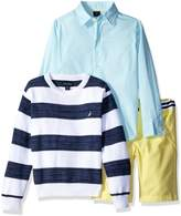 Nautica Little Boys' Button Down Shirt, Striped Sweater and Twill Short Three Piece Set