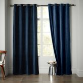 west elm Velvet Grommet Curtain - Regal Blue