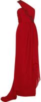 Asymmetric silk-chiffon gown
