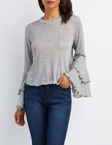 Charlotte Russe Lettuce-Trim High-Low Bell Sleeve Top