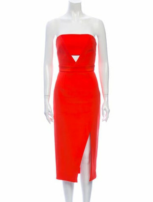Nicholas Silk Knee-Length Dress Orange