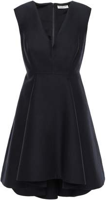 Halston Flared Pleated Cotton And Silk-blend Mini Dress