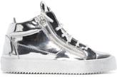 Giuseppe Zanotti SSENSE Exclusive Silver London Mid-Top Sneakers